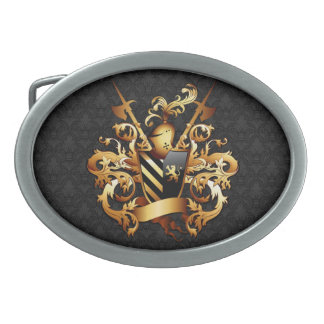Medieval Coat of Arms Oval Belt Buckle