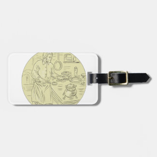 Medieval Cook Kitchen Oval Drawing Bag Tag