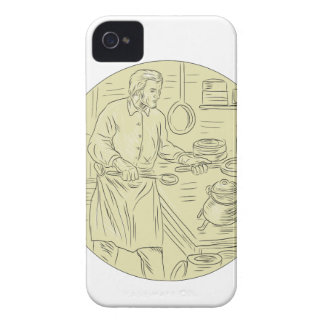 Medieval Cook Kitchen Oval Drawing Case-Mate iPhone 4 Case