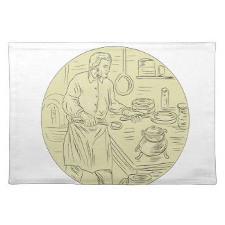 Medieval Cook Kitchen Oval Drawing Placemat