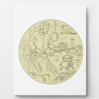 Medieval Cook Kitchen Oval Drawing Plaque