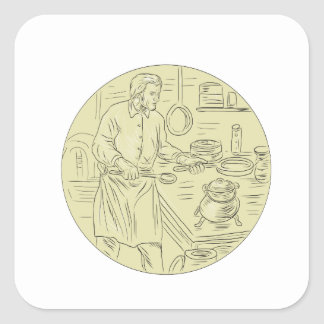 Medieval Cook Kitchen Oval Drawing Square Sticker