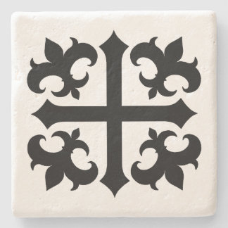 Medieval cross and fleur de lis symbols stone coaster