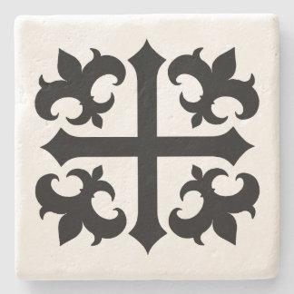 Medieval cross and fleur de lis symbols stone coaster