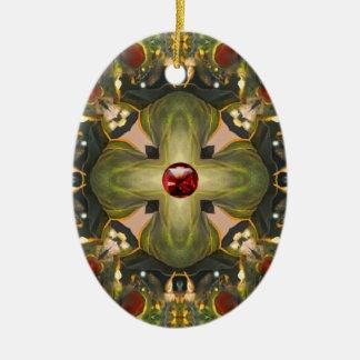 Medieval Cross Ceramic Oval Ornament