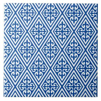 Medieval Cross Damask - Cobalt Blue and White Ceramic Tile