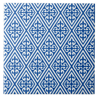 Medieval Cross Damask - Cobalt Blue and White Tile