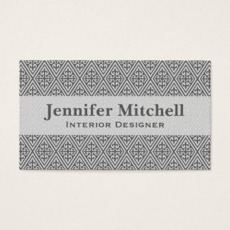 Medieval Cross Damask - Silver Grey / Gray Business Card