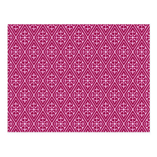 Medieval Damask Diamonds burgundy wine Post Cards