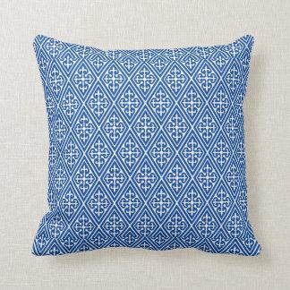 Medieval Damask Diamonds, cobalt blue Throw Pillow