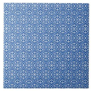 Medieval Damask Diamonds, cobalt blue Tile