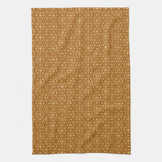 Medieval Damask Diamonds, copper and cream Kitchen Towel