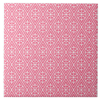 Medieval Damask Diamonds, coral pink & white Tile
