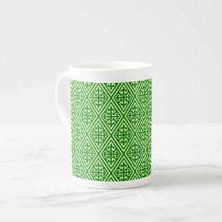 Medieval Damask Diamonds, dark pine green Tea Cup
