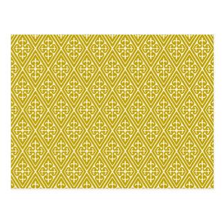 Medieval Damask Diamonds, mustard gold Postcard