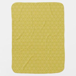 Medieval Damask Diamonds, mustard gold Receiving Blankets