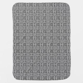 Medieval Damask Fleur-de-lis, black and white Swaddle Blankets