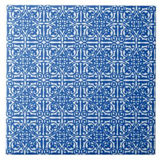 Medieval Damask Fleur-de-lis, cobalt blue Tile