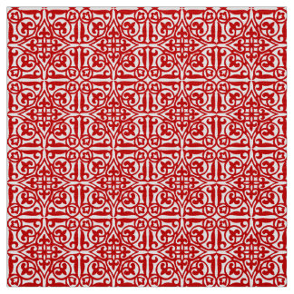 Medieval Damask Fleur-de-lis, red and white Fabric