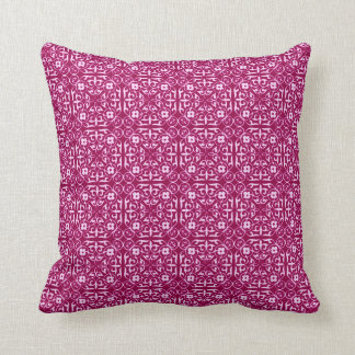 Medieval Damask pattern, burgundy wine Throw Pillow