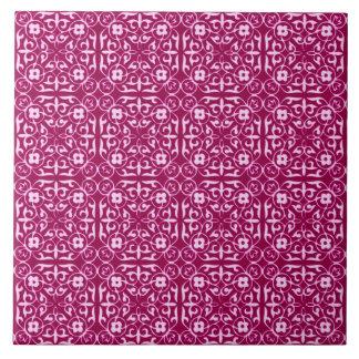 Medieval Damask pattern, burgundy wine Tile