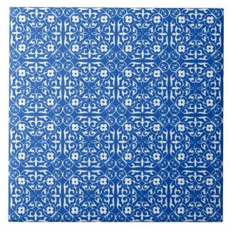 Medieval Damask pattern, cobalt blue Tile