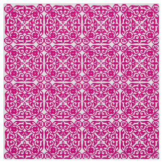 Medieval Damask pattern, magenta and white Fabric