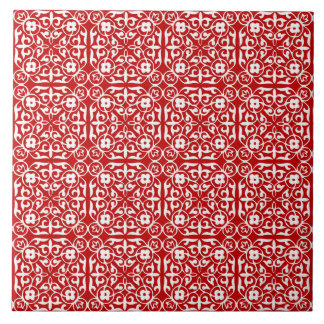 Medieval Damask pattern, red and white Tile