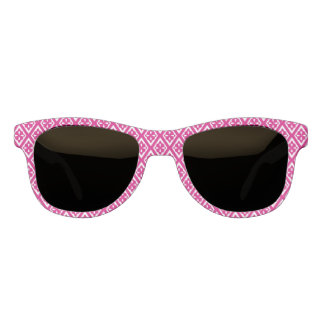 Medieval diamonds - fuchsia pink and white sunglasses