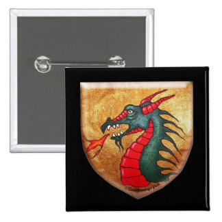 Medieval Dragon Gold Shield 2 Inch Square Button