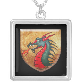 Medieval Dragon With Shield Silver Plated Necklace