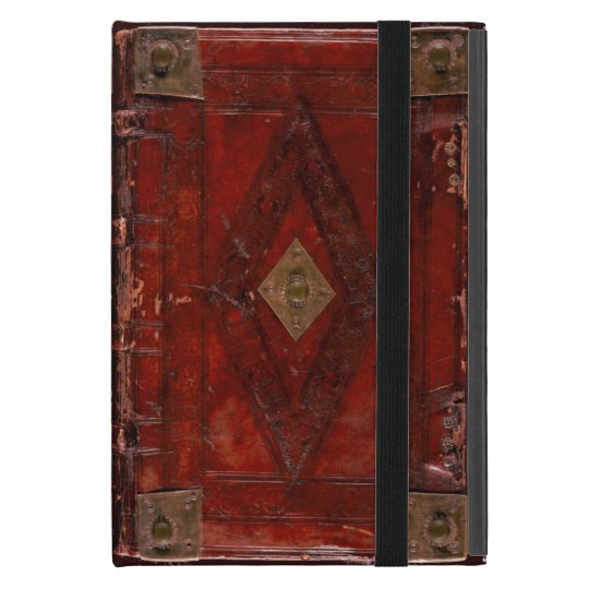 Leather Book Cover Design : Medieval engraved red leather book cover design ipad mini