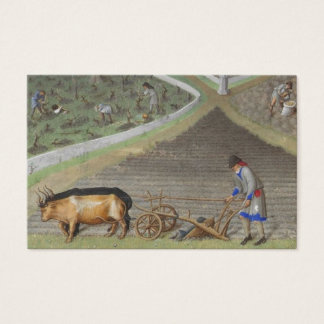 Medieval farmer ploughing with oxen business card