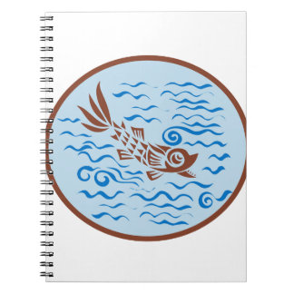 Medieval Fish Swimming Oval Retro Notebook