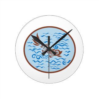 Medieval Fish Swimming Oval Retro Round Clock