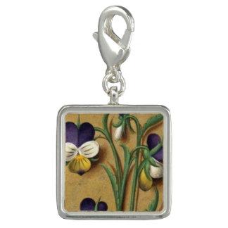 Medieval Flora Square Violet flower charm