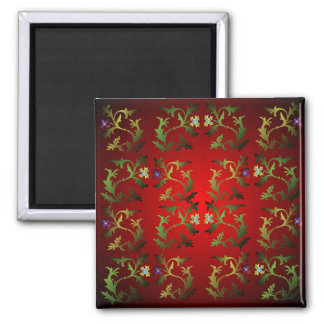 Medieval Floral Pattern Square Magnet