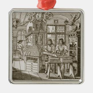 Medieval German printing press (engraving) Metal Ornament