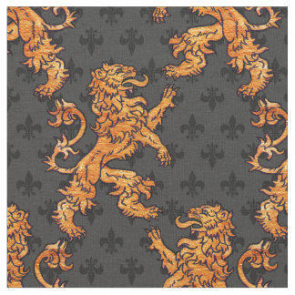 Medieval Gold Lion Black Gray Fleur de Lis Fabric