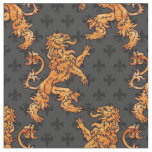 Medieval Gold Lion Black Grey Fleur de Lis Fabric