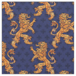 Medieval Gold Lion Blue Fleur de Lis Fabric