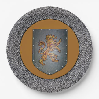 Medieval Gold Lion Gray Chainmail Paper Plate