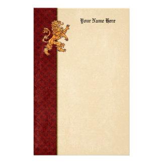 Medieval Gold Lion Red Fleur de Lis Stationery