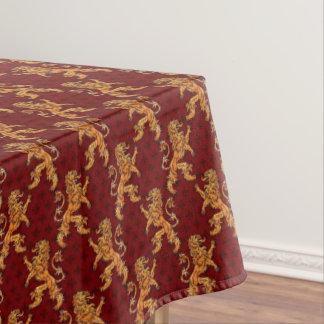 Medieval Gold Lion Red Fleur de Lis Tablecloth