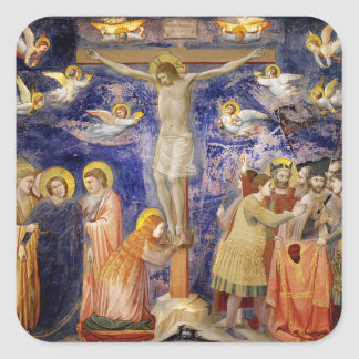 Medieval Good Friday Scene Square Sticker