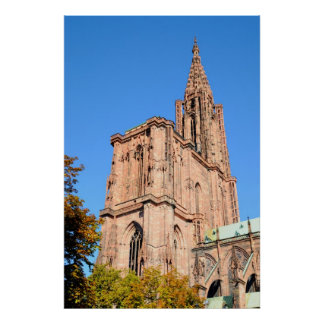 Medieval gothic cathedral in Strasbourg, France Poster