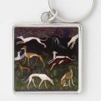 Medieval Greyhound Dogs in the Deep Woods Keychain