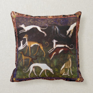 Medieval Greyhound Dogs on Paisley Throw Pillow