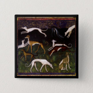 Medieval Greyhounds in the Deep Woods 2 Inch Square Button