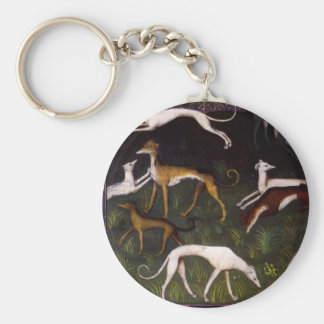 Medieval Greyhounds in the Deep Woods Basic Round Button Keychain